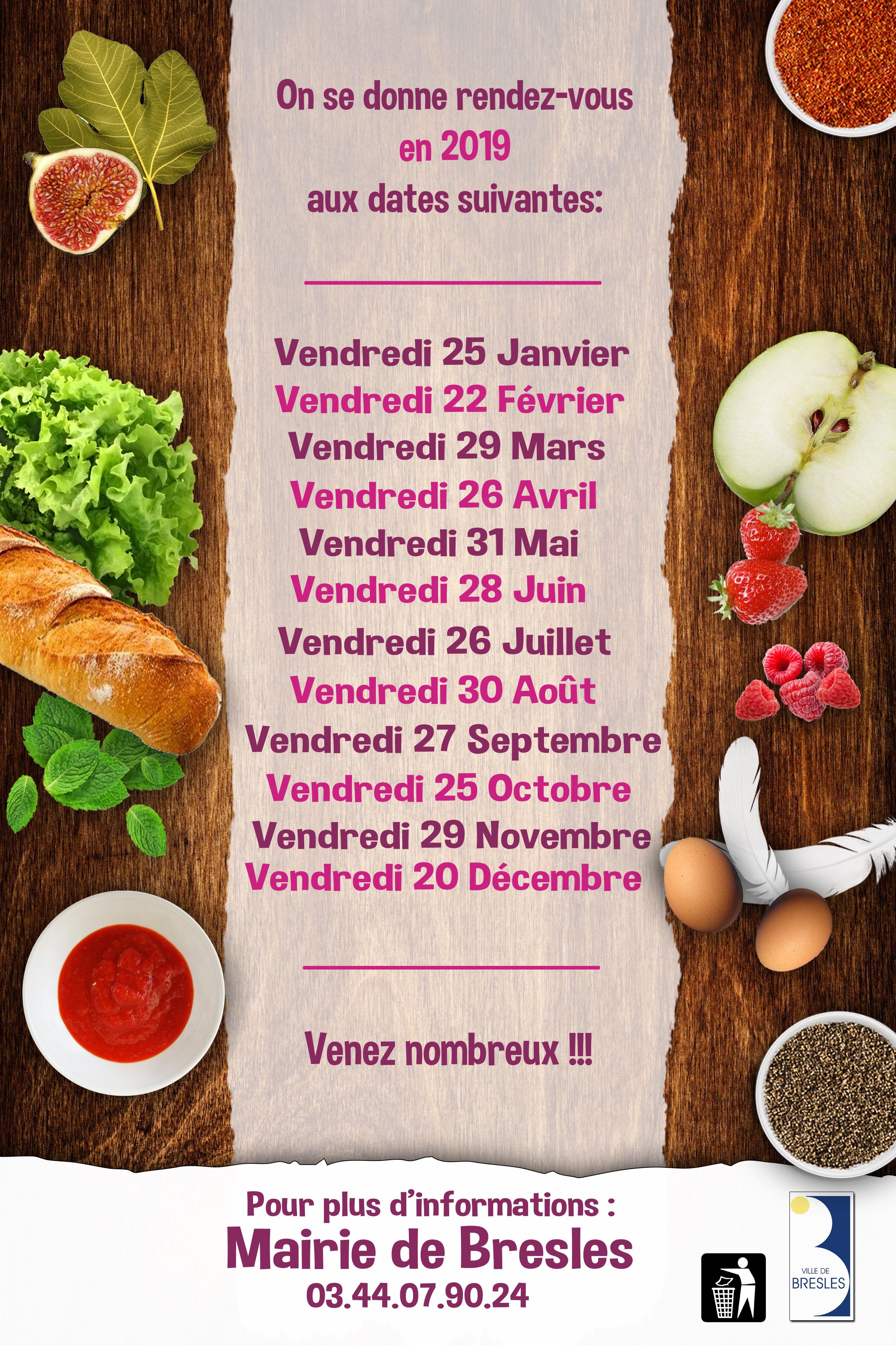 Dates du marché des saveurs 2019, crédit photo : Mairie de Bresles